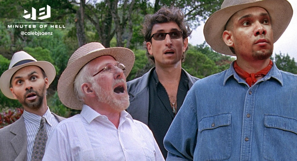 "Tony, Pop, Manu and Timmy in ""Spurassic Park"""