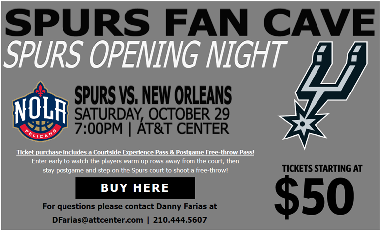 Spurs Opening Night Exclusive For Spurs Fan Cave fans.
