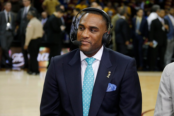 CLEVELAND, OH - JUNE 16: NBA TV's Steve Smith before Game Six of the 2015 NBA Finals between the Golden State Warriors and Cleveland Cavaliers at the Quicken Loans Arena on June 16, 2015 in Cleveland, Ohio NOTE TO USER: User expressly acknowledges and agrees that, by downloading and/or using this Photograph, user is consenting to the terms and conditions of the Getty Images License Agreement. Mandatory Copyright Notice: Copyright 2015 NBAE (Photo by Gregory Shamus/NBAE via Getty Images)